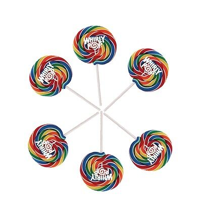 Rainbow Whirly Pops, Lollipops 6 Individual - Whirly Pop Lollipop