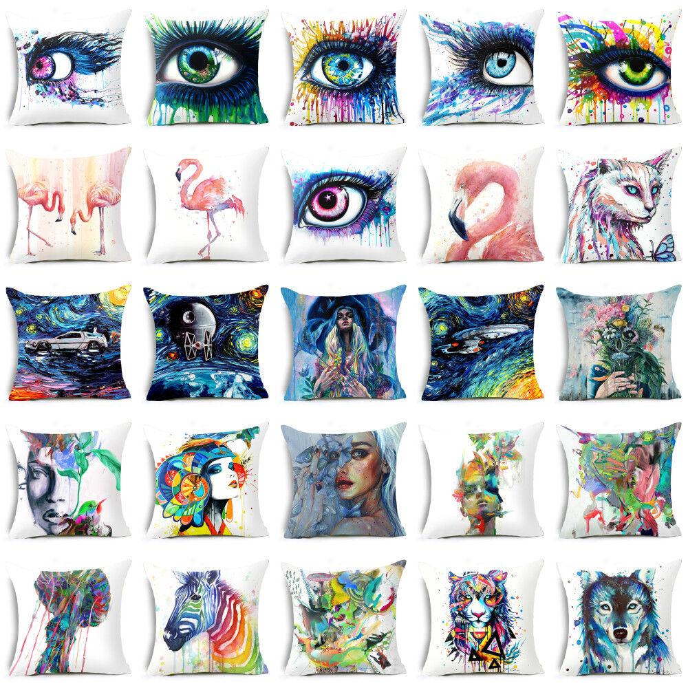 Polyester Watercolor pillows case for sofa official cushion