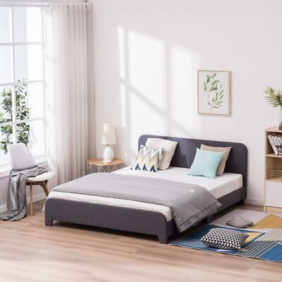 New Full Size Platform Slats Bed Frame Upholstered Headboard Slats Bedroom Gray