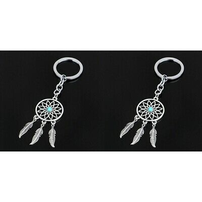 2PCS Fashion Dream Catcher Key Chain Silver Ring Feather Tassel Keyring Keychain Clothing, Shoes & Accessories