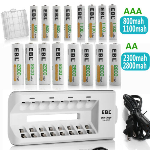 EBL AAA AA NIMH Rechargeable Batteries 1100mah 2800mah +Box With 8Slots  Charger