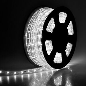 50' 2 Wire Cool White LED Rope Light Outdoor Home 110V Lighting 1/2