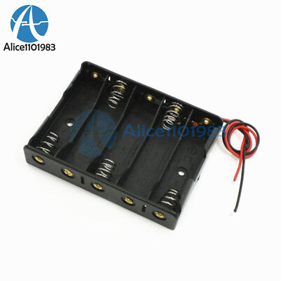 2pcs Plastic Battery Storage Case Box Holder For 5 X Aa 5xaa 2a 7.5v Wire Leads