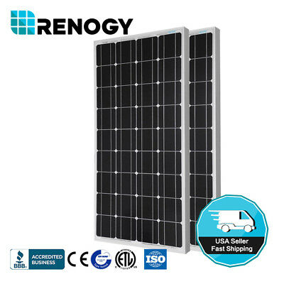 Renogy 2 Pieces 100W Monocrystalline Photovoltaic PV Solar P