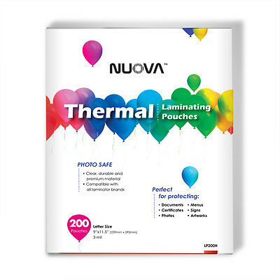 200 Packs Nuova Premium Thermal Laminating Pouches 9 X 11.5 Letter Size 3 Mil