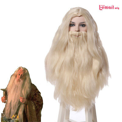 Halloween Albus Dumbledore Light Blonde Long Cosplay Wig With Beard Mustache