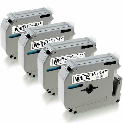 4pk M-k231 M231 Fit Brother P-touch M Tape 12mm White Label Maker Pt-70 Pt-80 90