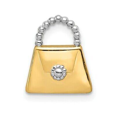 14k Yellow Gold Purse Slide Pendant Charm Necklace Chain Fine Jewelry Women