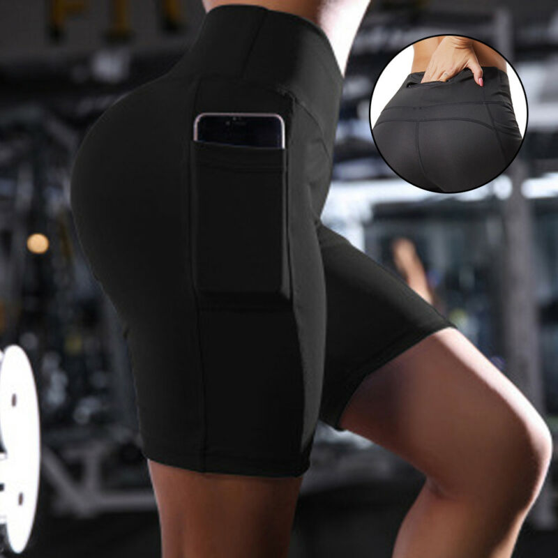Womens Capri YOGA Pants Pockets Run Gym Sport Fitness Cropped Leggings Workout 28