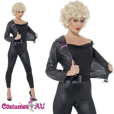 Ladies Grease 50s Bad Sandy Final Scene Costume 1950s Party Black Fancy Dress