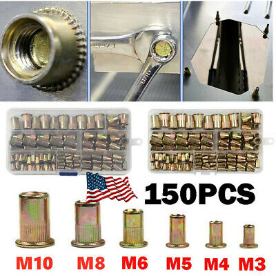 150pcs Mixed Rivet Nut Tool Kit Zinc Steel Rivnut Insert Threaded Nutsert M3-m10