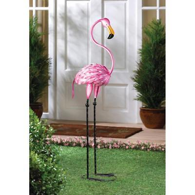 "Large 35"" Pink metal art BABY Flamingo bird Garden outdoor Stake yard art Statue"