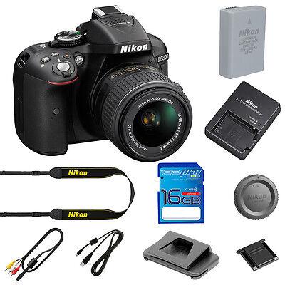 NEW Nikon D5300 Digital SLR Camera (Black) W/ AF-P 18-55mm VR I + 16GB SD Card