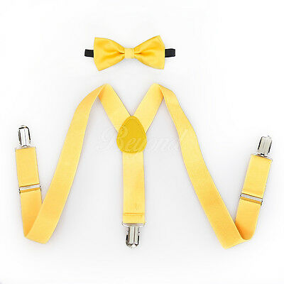 Yellow Suspender and Bow Tie Set for Baby Toddler Kids Girls Boys - USA Seller - Yellow Bow Tie And Suspenders