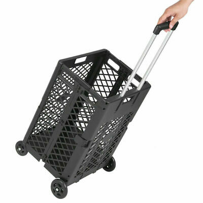 55 Lbs Shopping Utility Cart Folding Collapsible Hand Crate W 4 Rolling Wheels