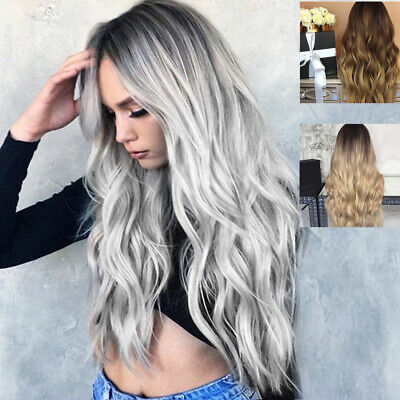 White Grey Silver Lace Front Wig Heat Resistant Synthetic Hair Long Wavy Wigs](White Hair Wig)