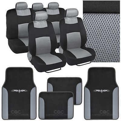 9 Pc Sporty Mesh Cloth Gray / Black Seat Cover and 4 Pc PU Gray Carpet Mats