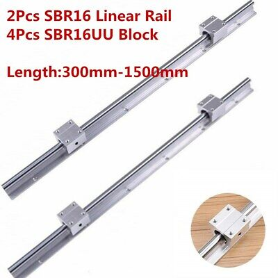 2x Sbr16 L300-1500mm Linear Bearing Rail 16mm Slide Guide Shaft4x Sbr16uu Block