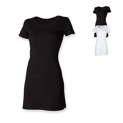SF Women Damen Ladies T Shirt Dress Shirt Kleid Rundhals Single-Jersey tailliert