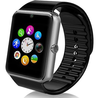 """Black 1.54"""" GT08 Touch Screen Bluetooth Smart Watch Phone Mate For Android IOS"""