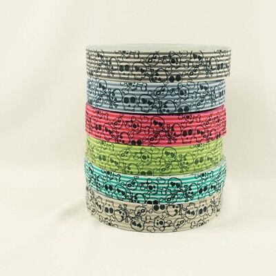 Gummiband Totenköpfe 4cm breit gestreift Abschlussband -Preis gilt für 1 m -