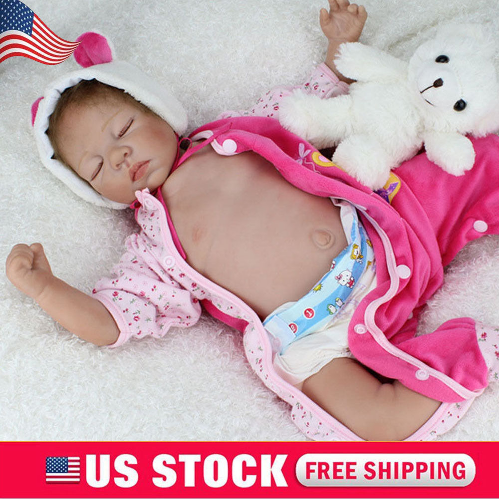 "22/"" Reborn Baby Doll Lifelike Silicone Vinyl Dolls Birthday Girl Gift Realistic"