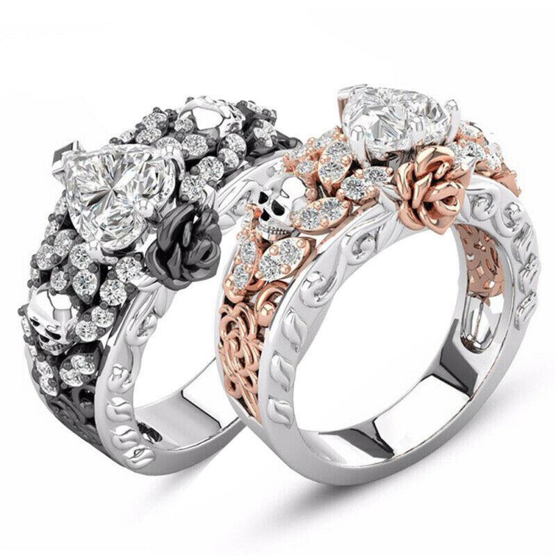 *Fashion Punk Skull Ring Gothic Rose Heart Zircon Two-tone Ring Wedding Jewelry*