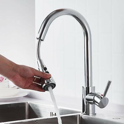 Brushed Brass Kitchen Sink Faucet W/ Pull Out Sprayer Single Handle Deck Mount
