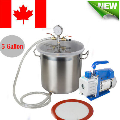 5 Gallons Vacuum Chamber Silicone Expoxy Degassing w/3CFM 1/3HP Vacuum Pump SALE for sale  Mississauga