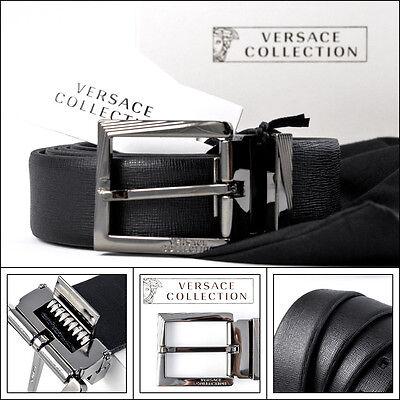 Mens VERSACE Medusa Black Leather Cut To Size Belt 120 / 32 34 36 38 40 42 NWT