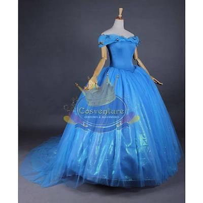 Cinderella Dress Ball Gown Costume 2015 Movie Custom Made Best Design Wig Option
