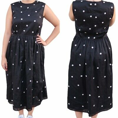 Jupe by Jackie Embroidered Polka Dot Midi Dress Sleeveless Fit and Flare Small