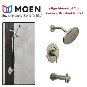 NEW Moen T3293BN Align Moentrol Tub/Shower, Brushed Nickel Condtion: New, Brushed Nickel, Faucet Body Set, 1 pcs miss...