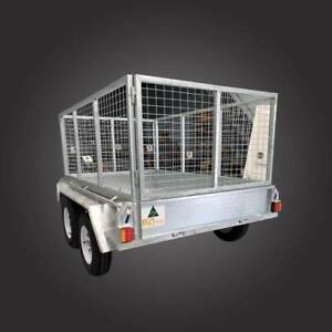 8x5 Hot Dipped Tandem Box Trailers With Cage