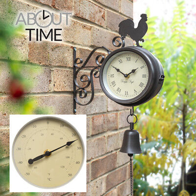 Cockerel Bell Outdoor Clock Garden Wall Outside Bracket Thermometer Station 15cm