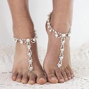 Pair Pearl Crystal Barefoot Sandals Beach Wedding Foot Anklet Bridal Bracelet 6