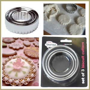 3* Biscuits Cookies Cutter Stainless Pastry Fondant Mould Baking CHEF AID Moulds