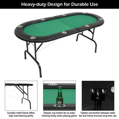New 8 Player Folding Play Poker Table with Stainless Steel Cup Holder