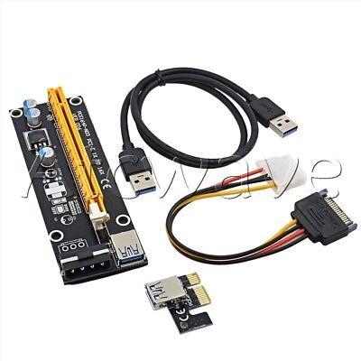PCI-E 1x to 16x Powered USB 3.0 Extender Riser Adapter Card Molex Bitcoin BLACK