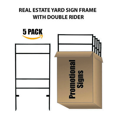 5pack Slide-in Real Estate Yard Sign Metal Frame With Dual Rider-24x17.5