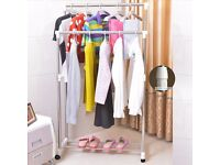 Brand New DNY Homeware Stainless Steel 50kg High Strength Adjustable Double Cloth Hanging Rail Rack