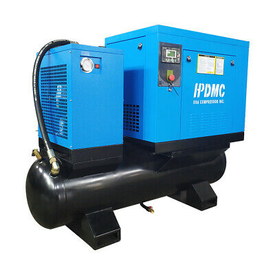 230v 3-ph Rotary Screw Air Compressor With 80 Gallon Air Tank Air Dryer 39cfm