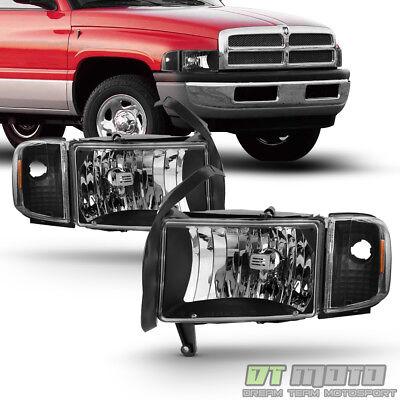 Black 1994-2001 Dodge Ram 1500 2500 3500 Headlights w/Corner Lights Signal Lamps