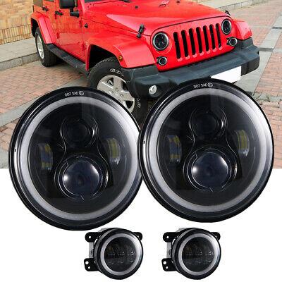 For 2007-17 Jeep Wrangler JK Halo LED Headlights + Halo LED Fog Lights Combo Kit