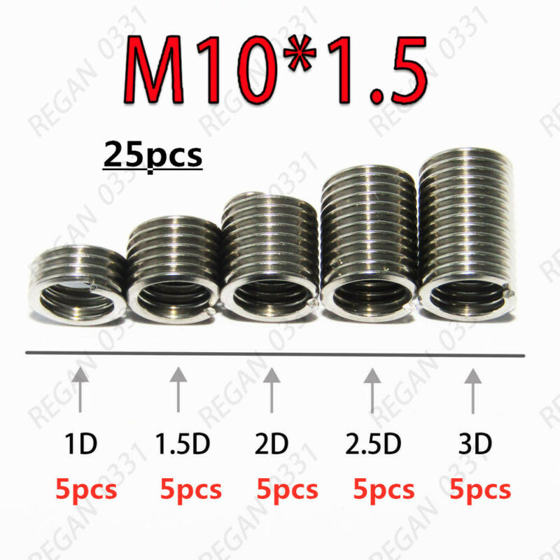 25pcs M10x1.5 Metric Stainless Steel Helicoil Thread Insert Wire Insert Repair
