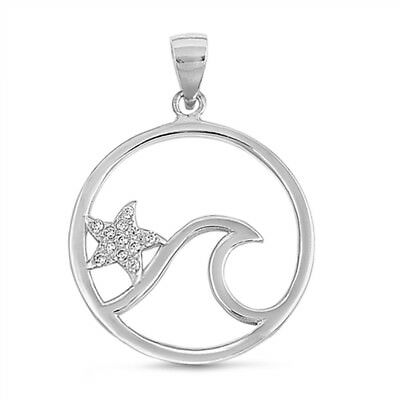 - Cute Starfish Wave CZ Charm .925 Sterling Silver Pendant