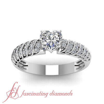 3/4 Ct Platinum Diamond Rings For Women With Heart Shape And Round Accents GIA 1