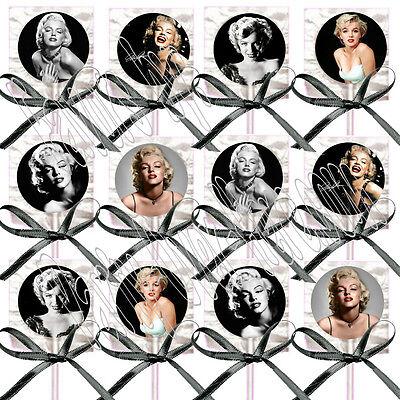 Marilyn Monroe Lollipops w/ Black Ribbon Bows Party Favors Blonde Bombshell (12)
