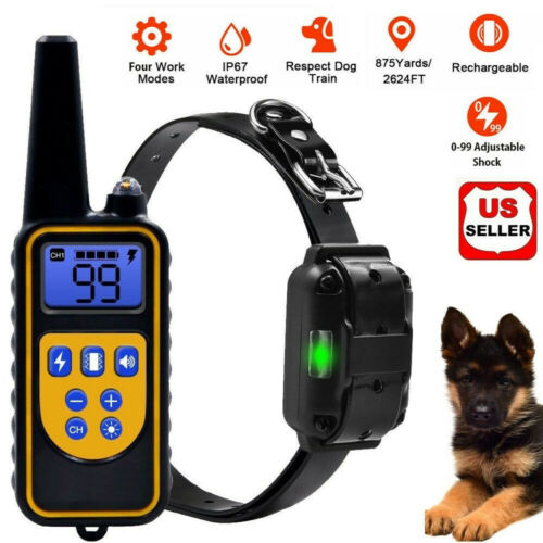 Dog Shock Training Collar Rechargeable Remote Control ...