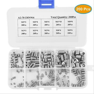 200 Pieces Hex Socket Set Screws With Cone Piont Assortment Kit Stainless Steel